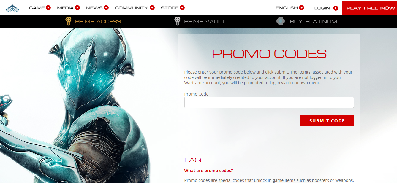 redemption of the Warframe Promo Codes